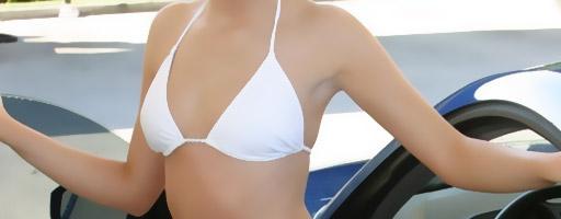 skye model in a bikini carwash